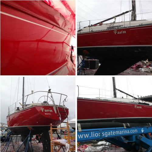 Red Boat after Professional Boat Repair by Watertight Boating in Vancouver.